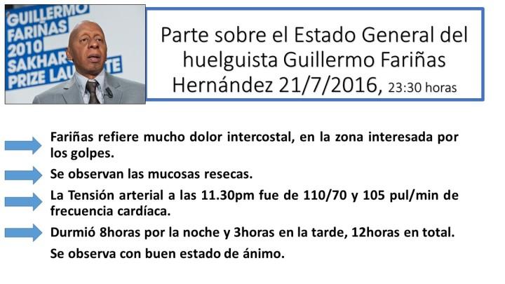 Parte sobre el Estado General del huelguista Guillermo