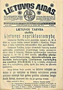 lietuvos_aidas_independence